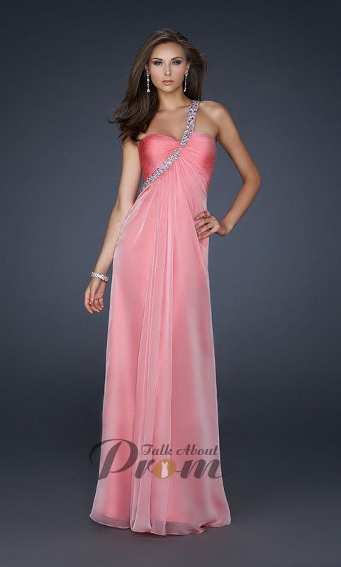 Pink One Shoulder Backless Long Prom Dresses TPD486 GORGEOUS ...