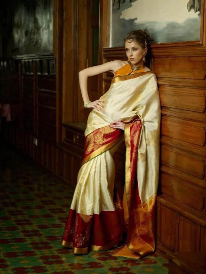 Beautiful Color Combination Ivory And Maroon Silk Saree