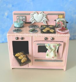 Cinderella Moments: Vintage Style Dollhouse Miniature Stove Oven Cooking Range Tutorial #dollhouseminiaturetutorials