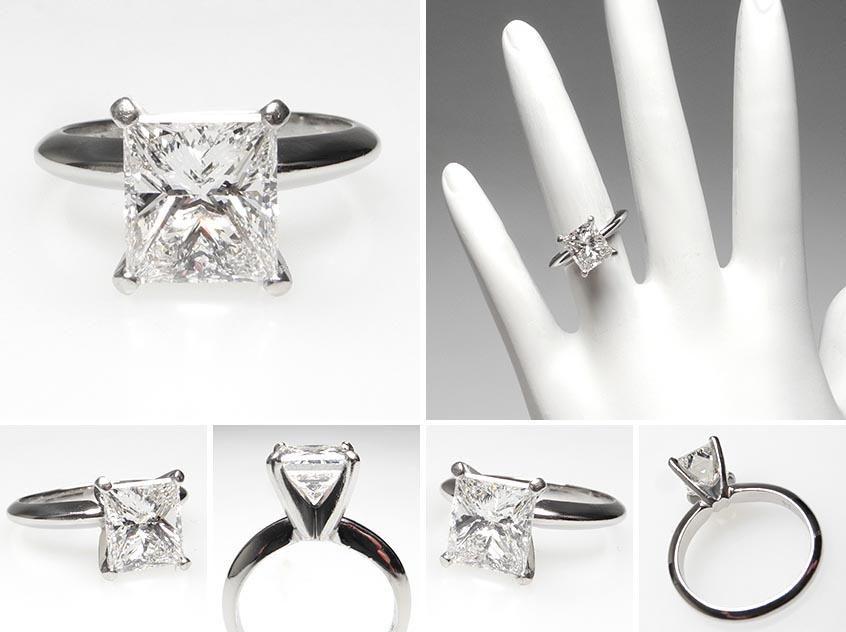 GIA 2 Carat Princess Cut Diamond Solitaire Engagement Ring Solid Platinum -