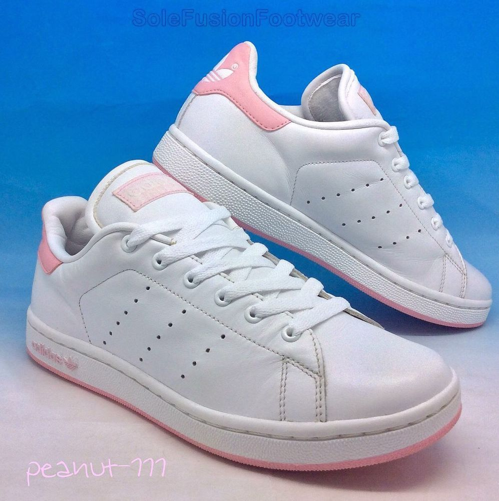 5876a22a31e adidas Originals Girls Stan Smith Trainers White Pink sz 4 Womens 36 2 3  22.5cm