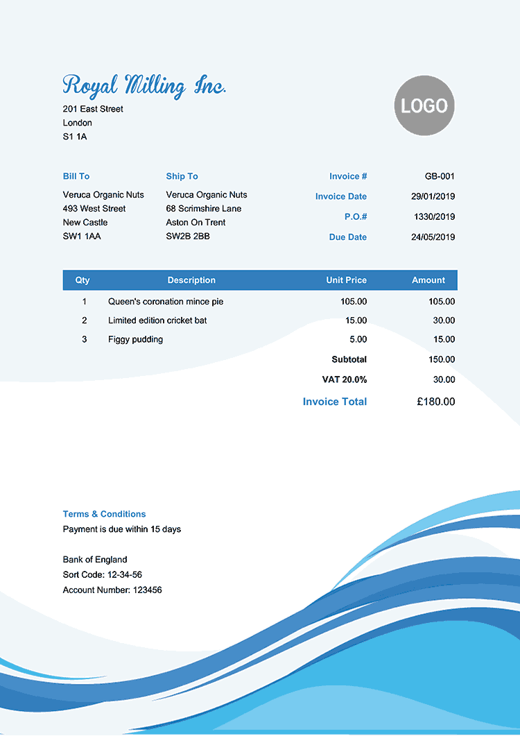 Invoice Template Uk Cool Waves Invoice Template Free Receipt Template Receipt Template