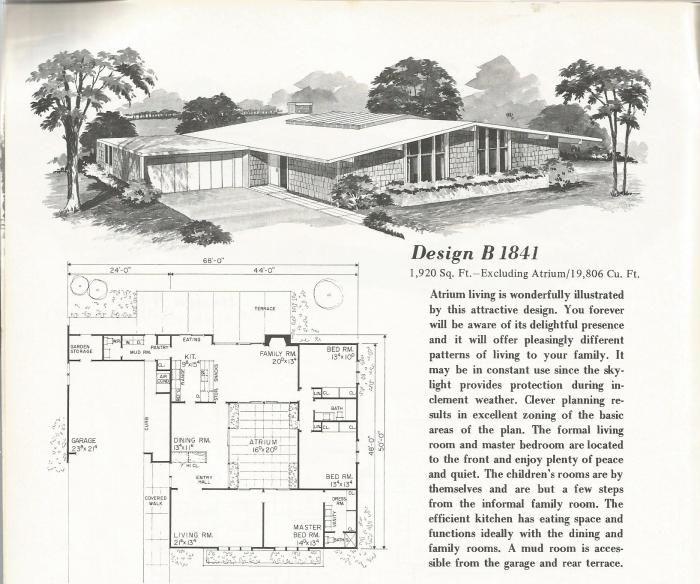 vintage house plans, 1960s, mid century homes | midcentury