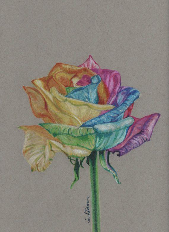 Rainbow Rose Drawing : rainbow, drawing, Prismacolor, Colored, Pencil, Rainbow, Original, JenniferMDuran,, Color, Artwork,, Drawing