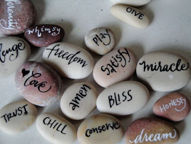 Trish taylor calligraphy inspirational pebbles rocks to make