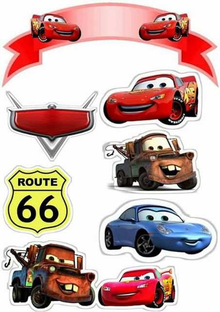 Cars: Toppers para Tartas, Tortas, Pasteles, Bizcochos o Cakes para Imprimir Gratis.