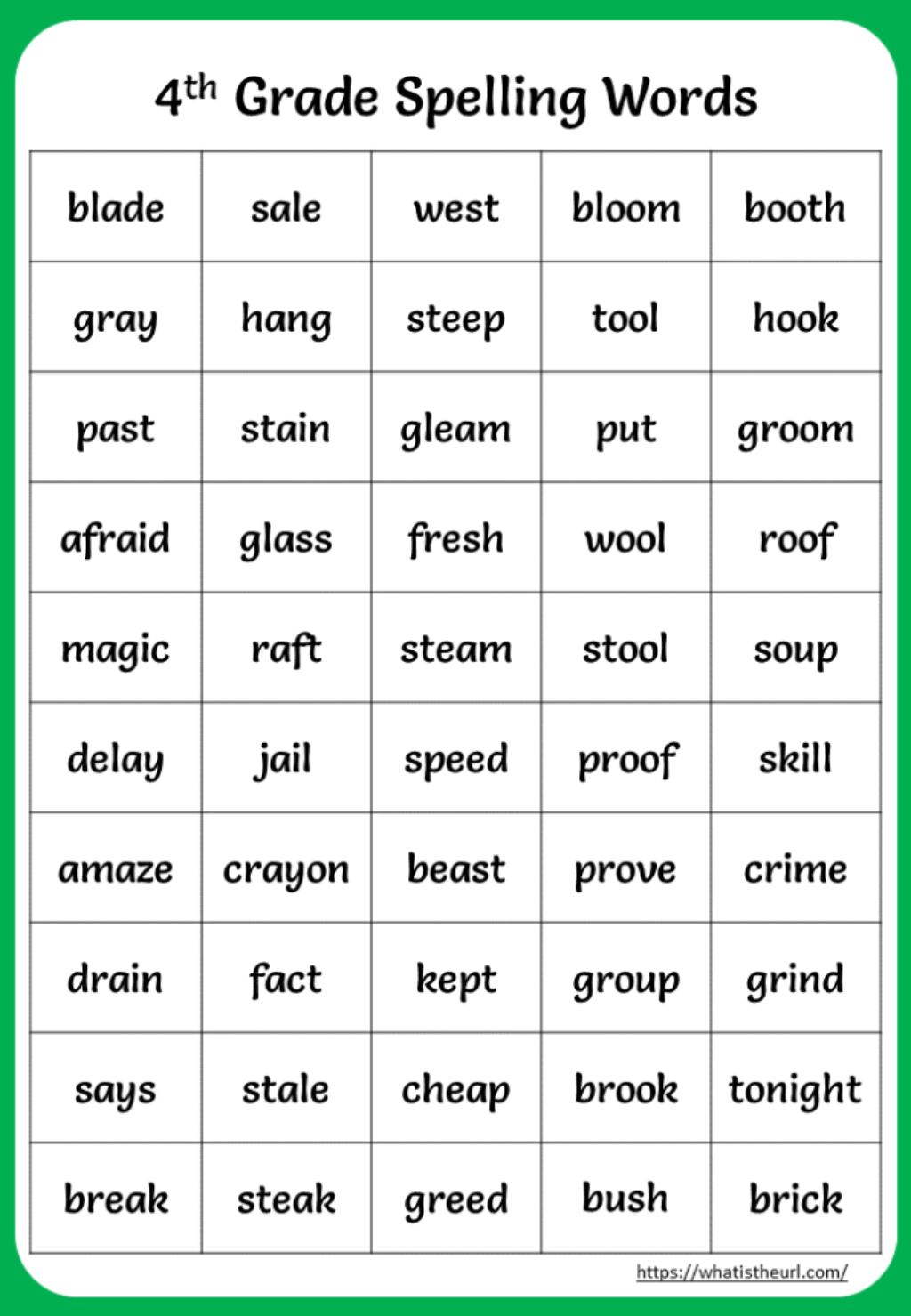 4th Grade Spelling Words Charts