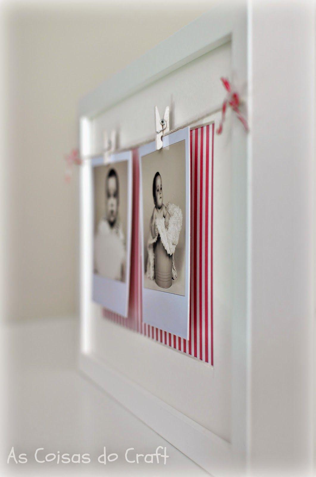 fotos, pinzas, cuerda y marco Ikea. Ah y papel estampado para el ...