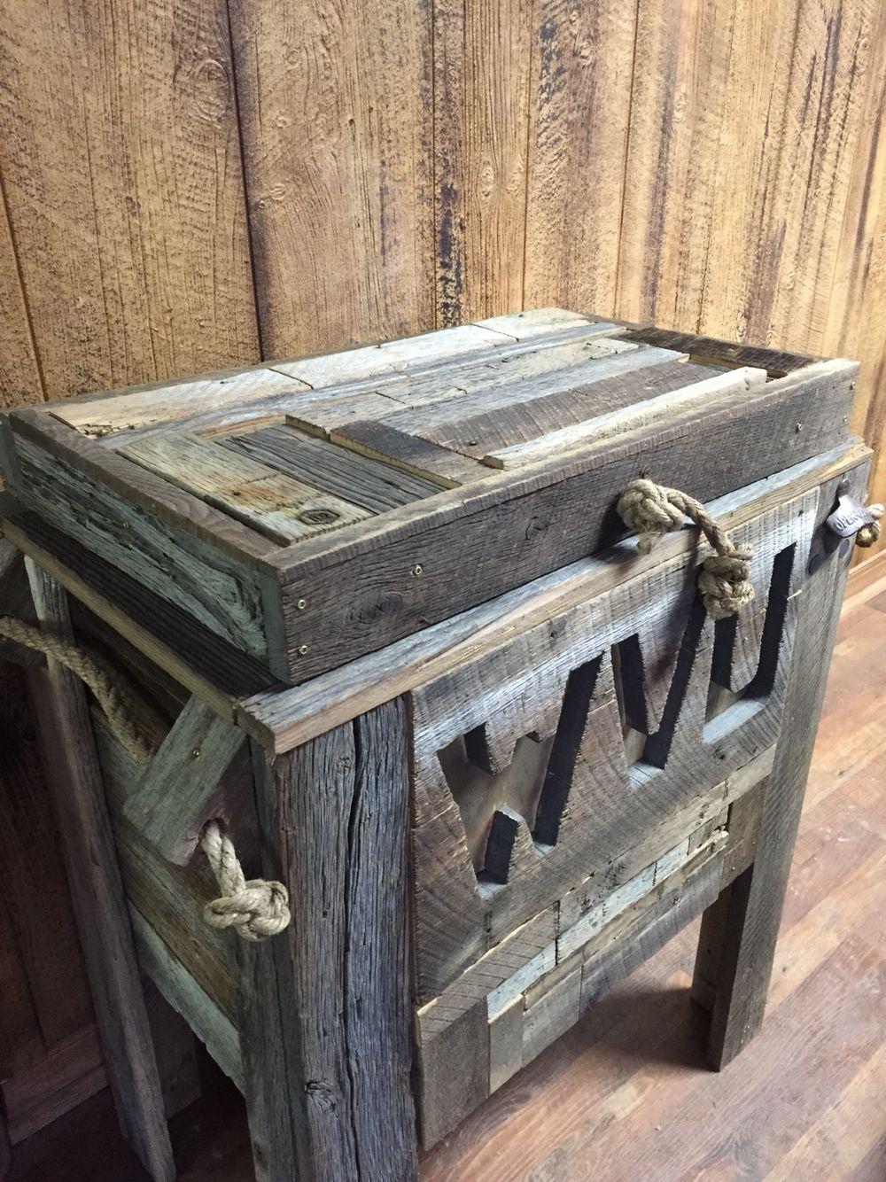WVU Patio Barn Wood Cooler.
