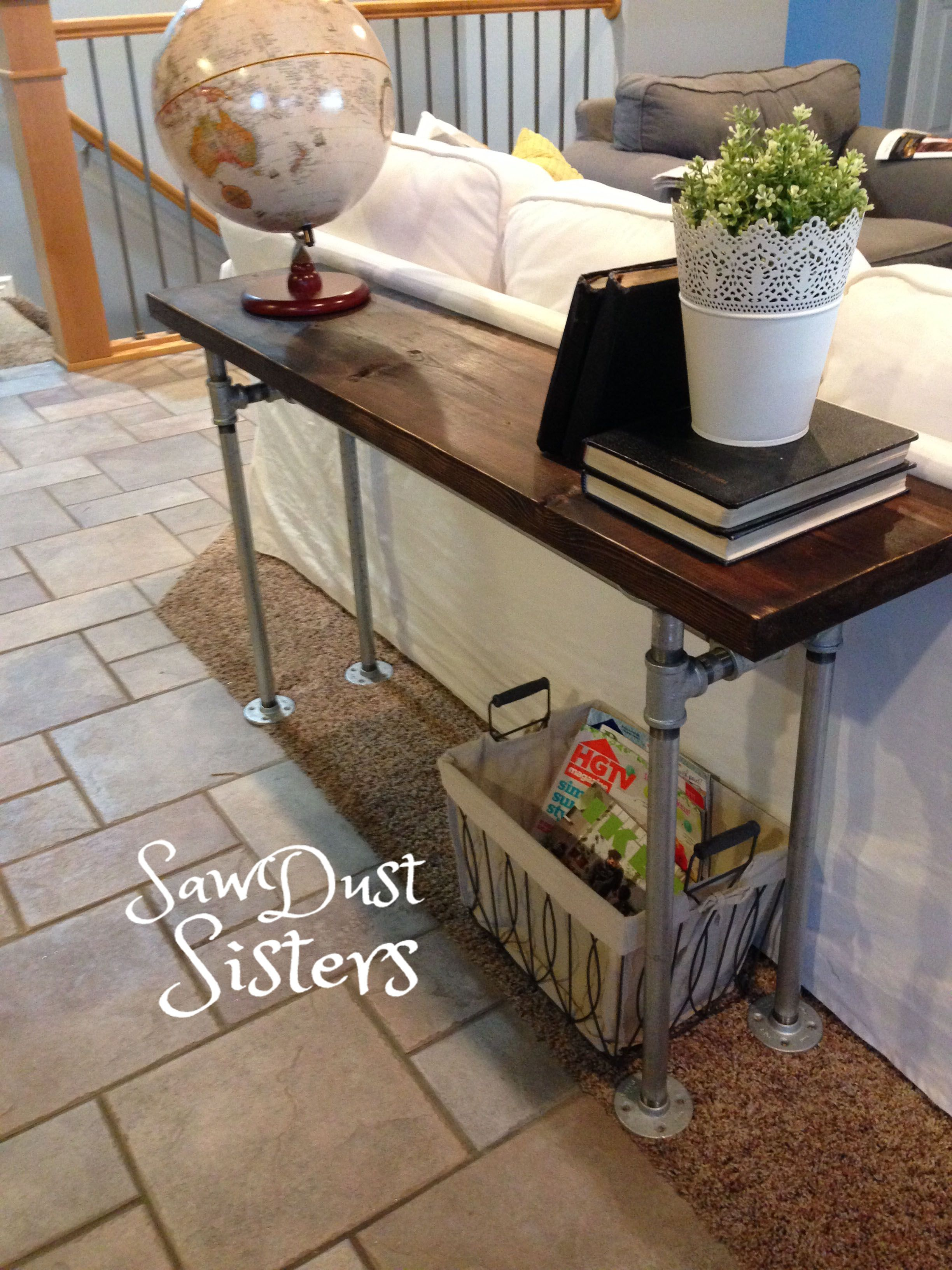 Diy Console Sofa Table With Pipe Frame No Tools See Tutorial At Sawdustsisters