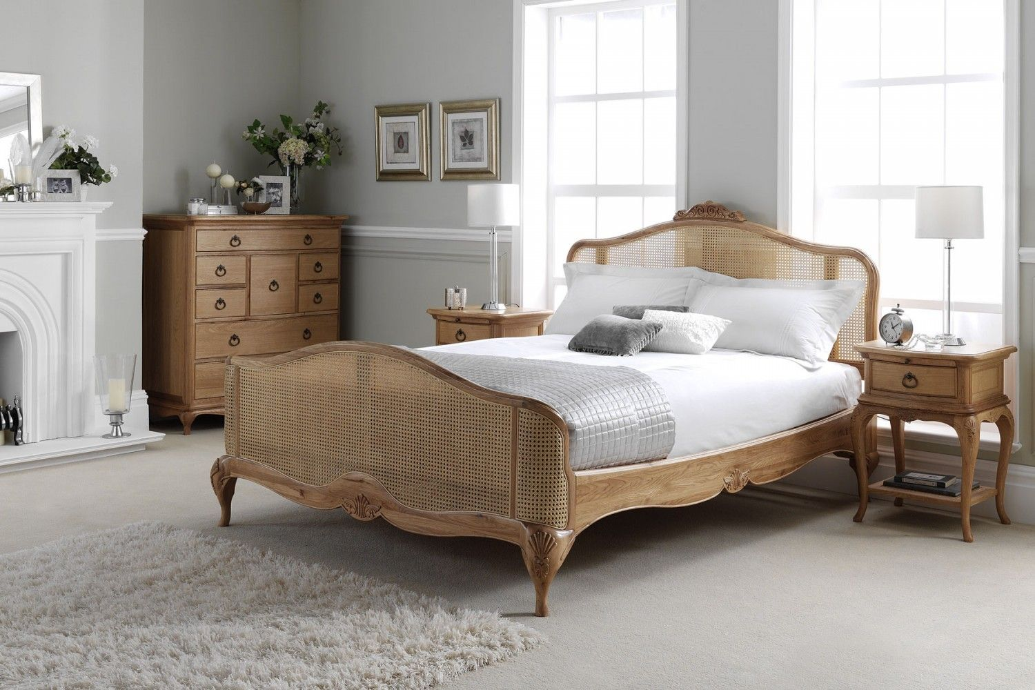Charlotte French Inspired Oak Rattan Bed | Solid Oak Contemporary Beds | French beds | French Bedroom Furniture