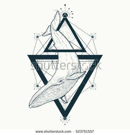Whale Tattoo Geometric Style Mystical Symbol Of Adventure Dreams