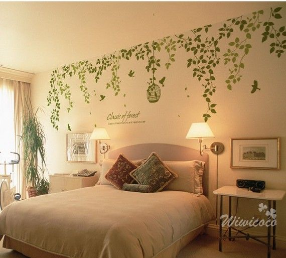 Classic of spring nature bridcage and bird in jungle --Removable Wall Art Murals Vinyl Wall Decals jungle wall decalin living room office