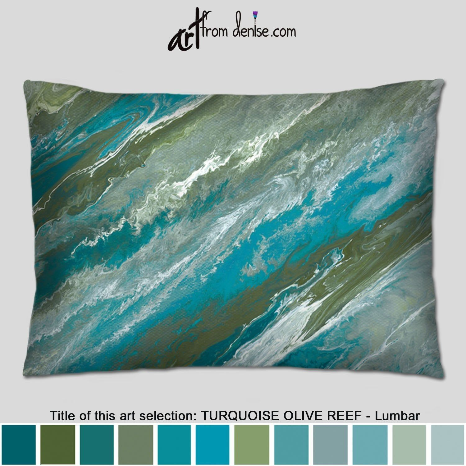 Blue Lumbar Pillow Olive Green Turquoise Throw Pillows Couch
