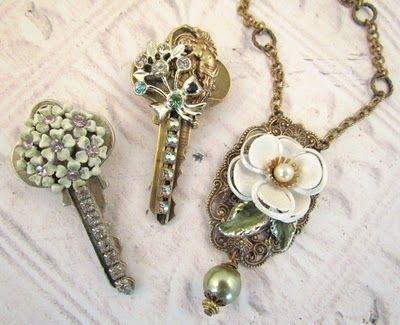 Repurposed keys made beautiful as pendants.