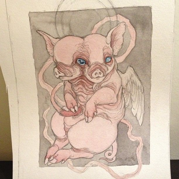 .@caitlin_hackett | Working on watercolor layers on my piglet