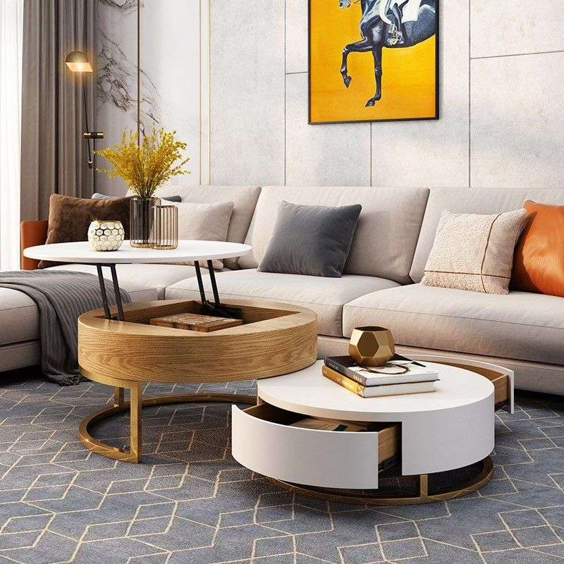 Modern Round Coffee Table With Storage Lift Top Wood Coffee Table With Rotatable Drawers In White Natural White Black Marble White In 2020 Round Coffee Table Modern Living Room Coffee Table Coffee Table Wood