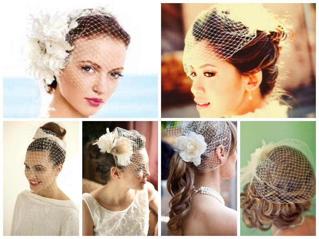 best hairstyles for birdcage veils | birdcage bridal veils