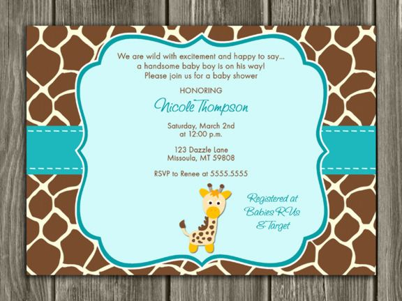 Printable Giraffe Baby Shower Invitation FREE thank you card - printable baby shower invite