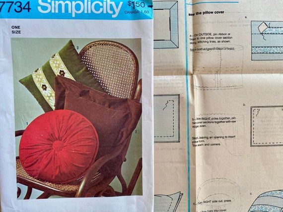 """Vintage, Pillow Covers Sewing Pattern; Simplicity 7734; Fits 14"""" Pillow Forms"""