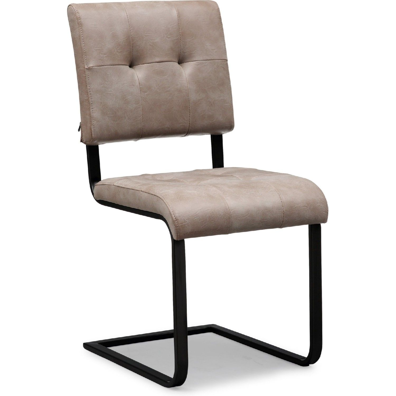 TOV Furniture Cora Dining Chair In Tufted Smokey Taupe Eco Leather On Matte  Black Steel Base (Set Of 2)