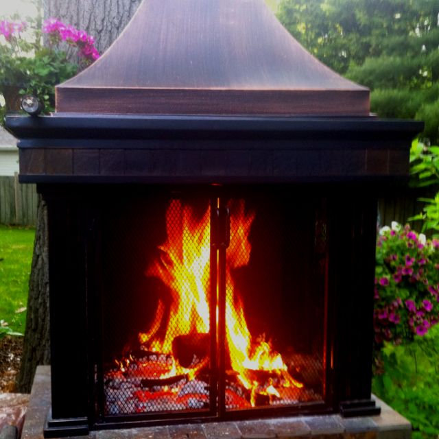 Outdoor fireplace from Lowes-faster than building a paver fireplace