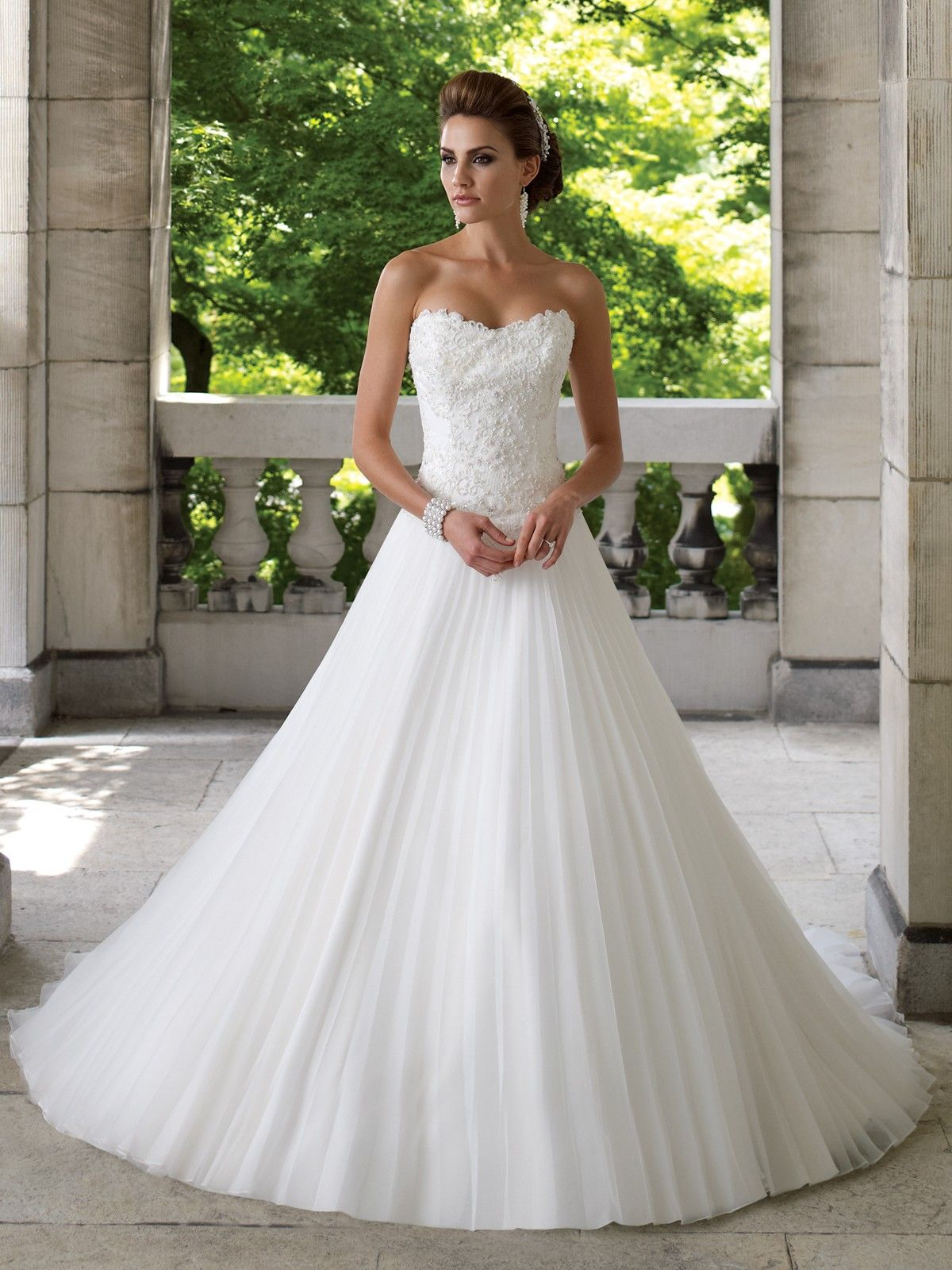 Beautiful Chiffon A Lijn Strapless Wedding Dresses Mon Cheri 113216