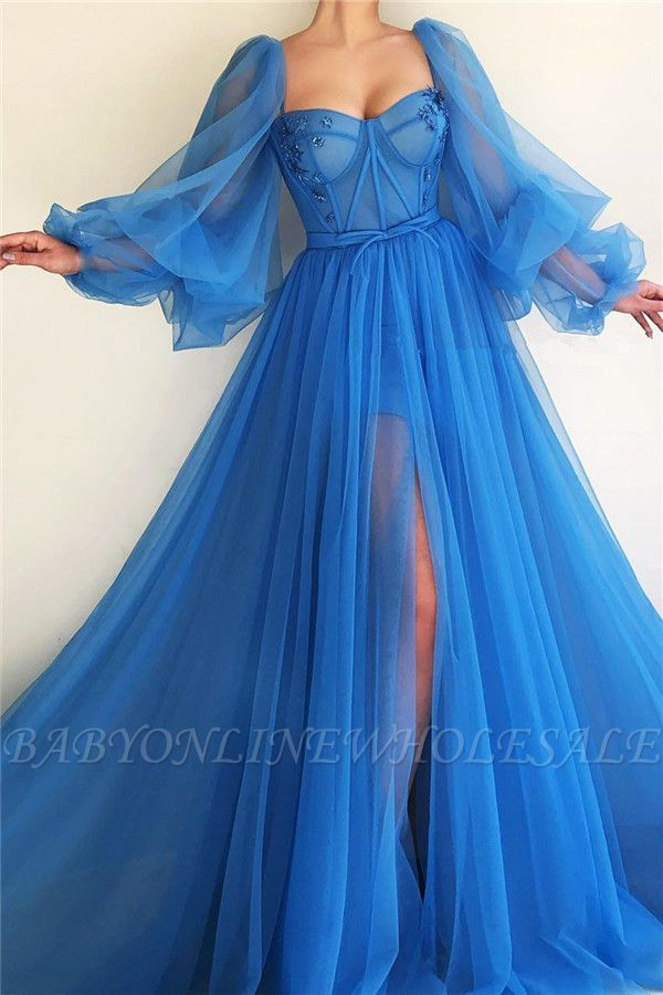 Sexy Long Sleeves Sweetheart See Through Bodice Prom Dress | Cheap Front Slit Bl… – Dress