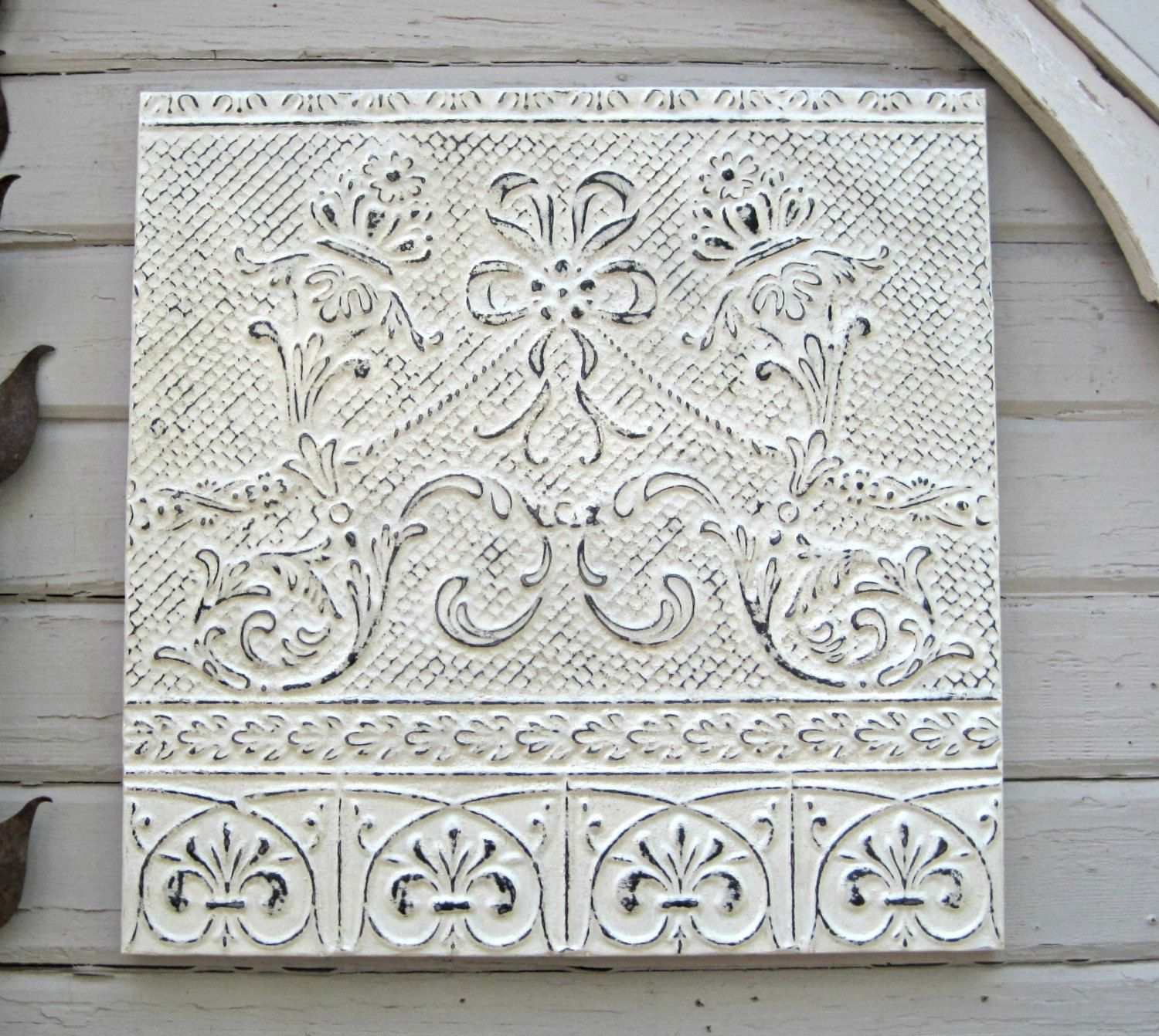 vintage ceiling tin tile. antique oklahoma architectural salvage