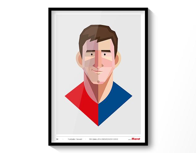 Ilustración de Leo Messi de 40x50 con marco