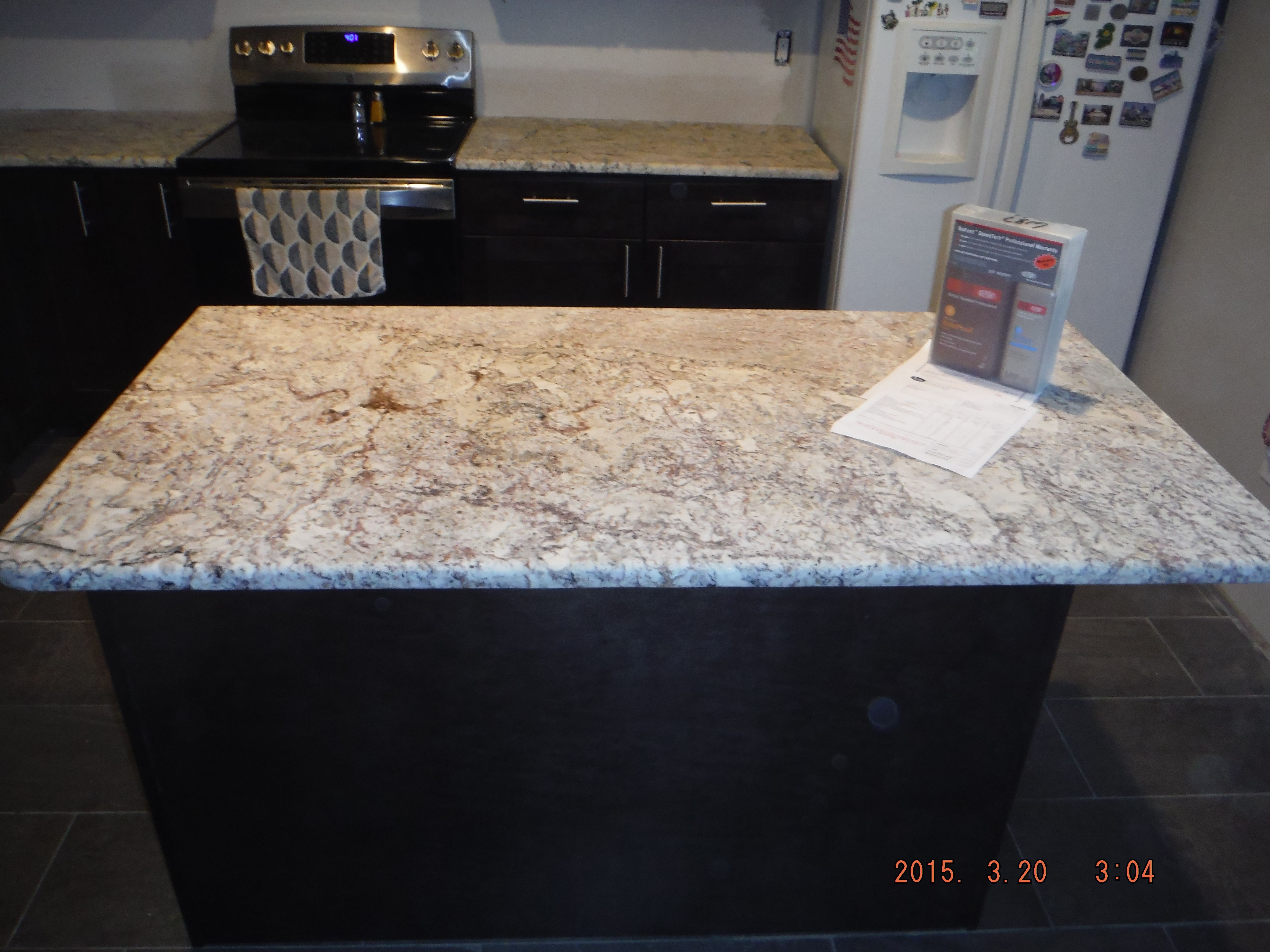 White Springs Leathered Granite Kitchen Countertops For The Cobb Family Knoxville S Stone Interiors Granite Countertops Kitchen Leather Granite Stone Interior