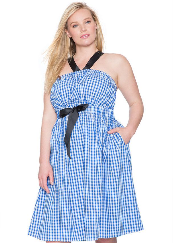 Plus Size Fit and Flare Cross Straps Dress Blue Gingham