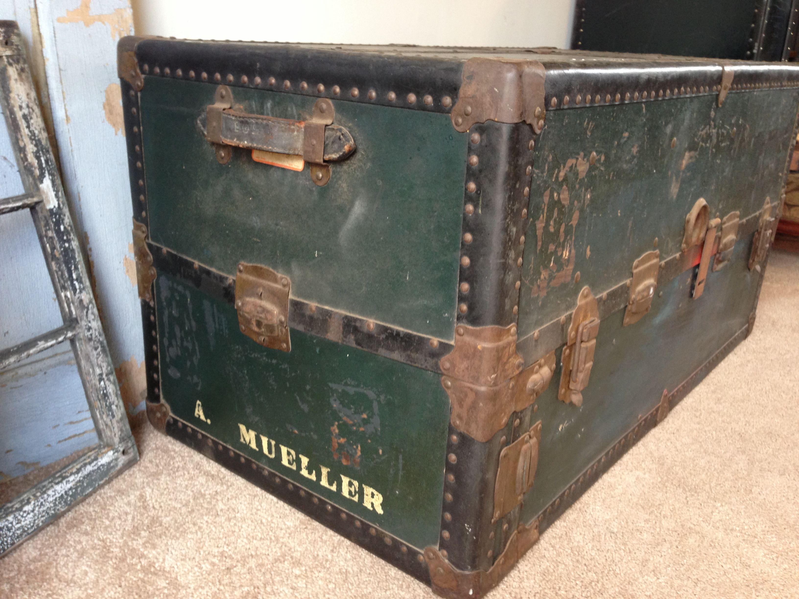 Vintage steamer trunk s vintage 1950s steamer trunk use as coffee vintage steamer trunk s vintage 1950s steamer trunk use as coffee table how to refinish a geotapseo Images
