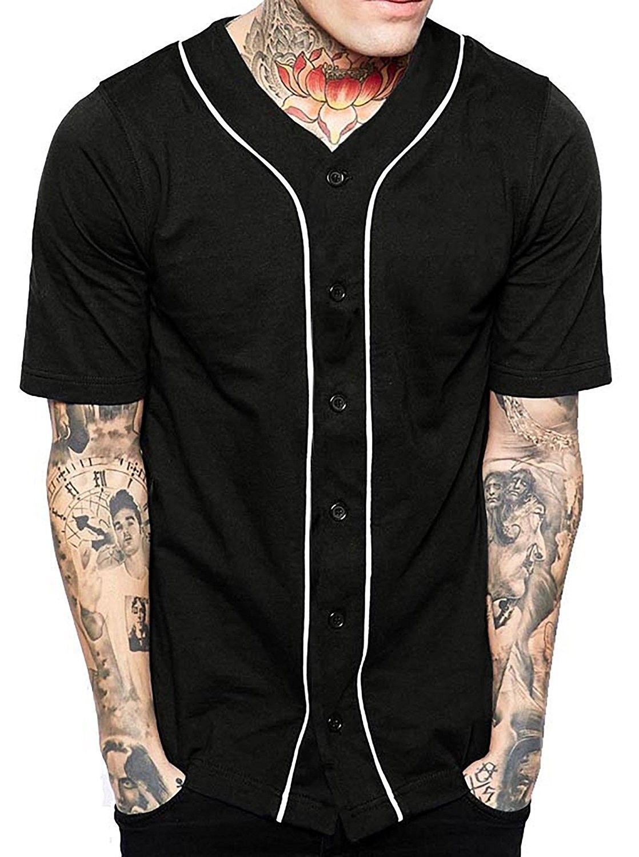 aa062531585 Mens Baseball Button Down Jersey Hipster Hip Hop T Shirts 1UPA01 -  Black White - CA17YSUMDQX