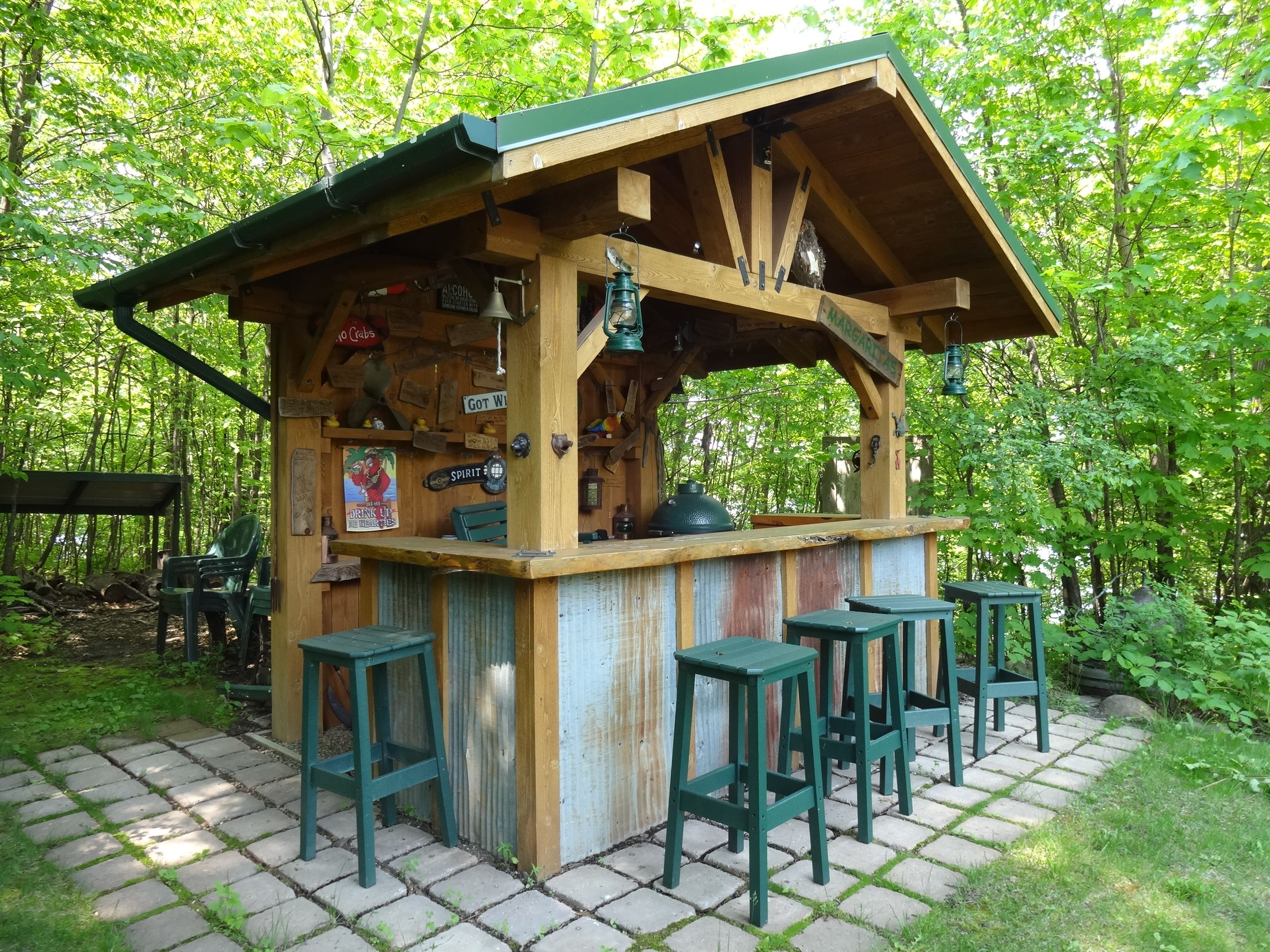 Rustic Outdoor Kitchen Premium Cabinets Manufacturers Bar With Corrugated Steel Accents