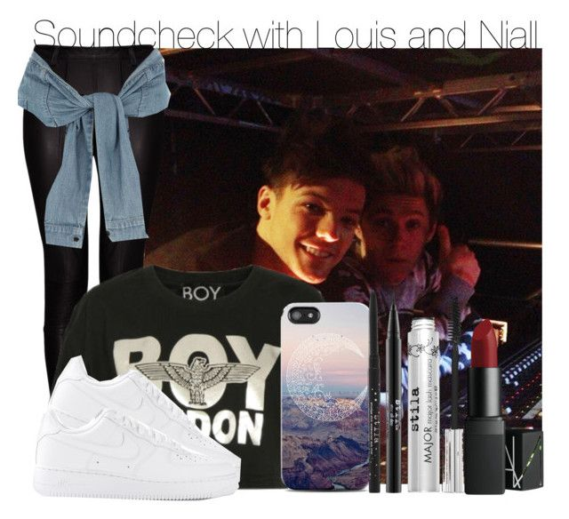"""""""Soundcheck with Louis and Niall"""" by swaggxdirection ❤ liked on Polyvore featuring Kalda, BOY London, NIKE, River Island, Stila and NARS Cosmetics"""