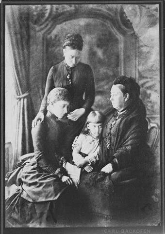 4 generations - Queen Victoria and her daughter Crown Princess Victoria of Germany, her daughter Princess Charlotte of Saxe-Meinegen and her daughter Princess Feodora.