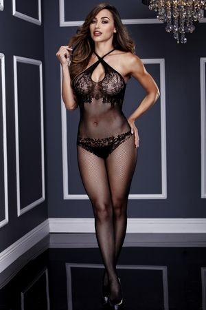 6496b0e12b5 Make Me Like You Crotchless Bodystocking 3131 Baci Lingerie Criss-cross  floral lace crotchless bodystocking features criss-cross halter straps