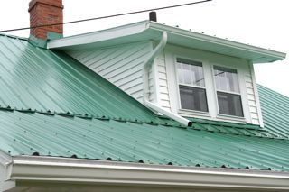 A Small Dormer Gets Its Own Gutter And Downspout Gutters Downspout How To Install Gutters