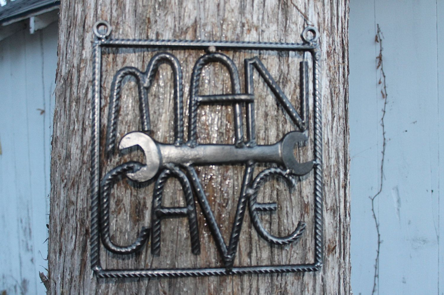 Man Cave Signs Australia : Salvaged rebar man cave sign art gift for him welded