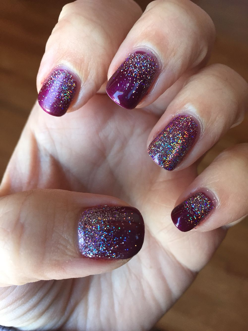 Cnd shellac tango passion with dream lilly glitter for A david anthony salon