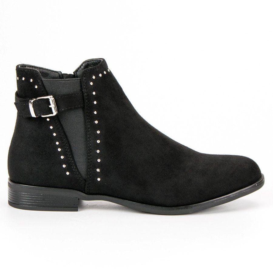 Super Me Niskie Jesienne Botki Czarne Boots Biker Boot Ankle Boot