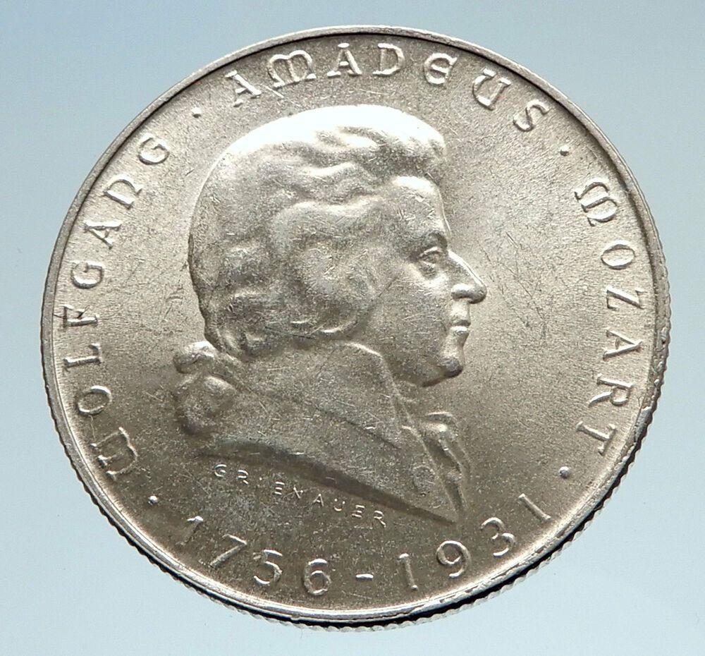 1931 Austria W Composer Musician Mozart Antique Silver 2 Schilling