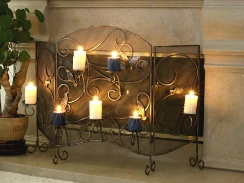 Fireplace Screen With Candle Holder Wrought Iron Spyglass Furnishings Http Www Amazon Com Dp B000w Wrought Iron Fireplace Screen Fireplace Fireplace Screen Fireplace screen candle holder