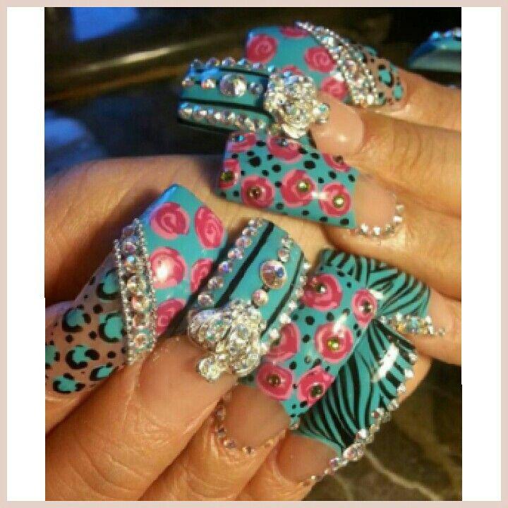 Flare tip nails, nail art | bling nails | Nail art with rhinestones ...