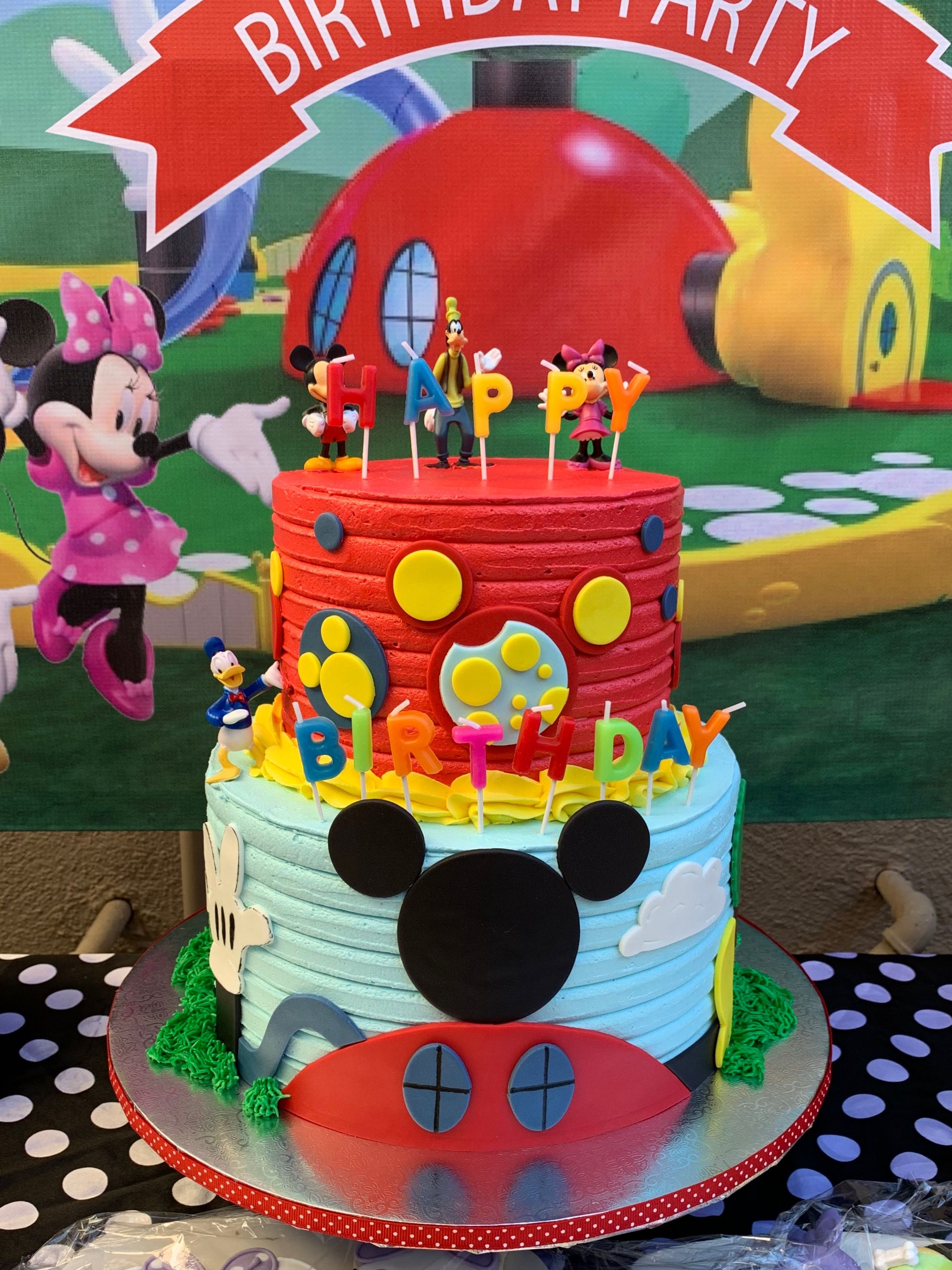 Mickey Mouse Clubhouse Theme Buttercream Birthday Cake Mickey