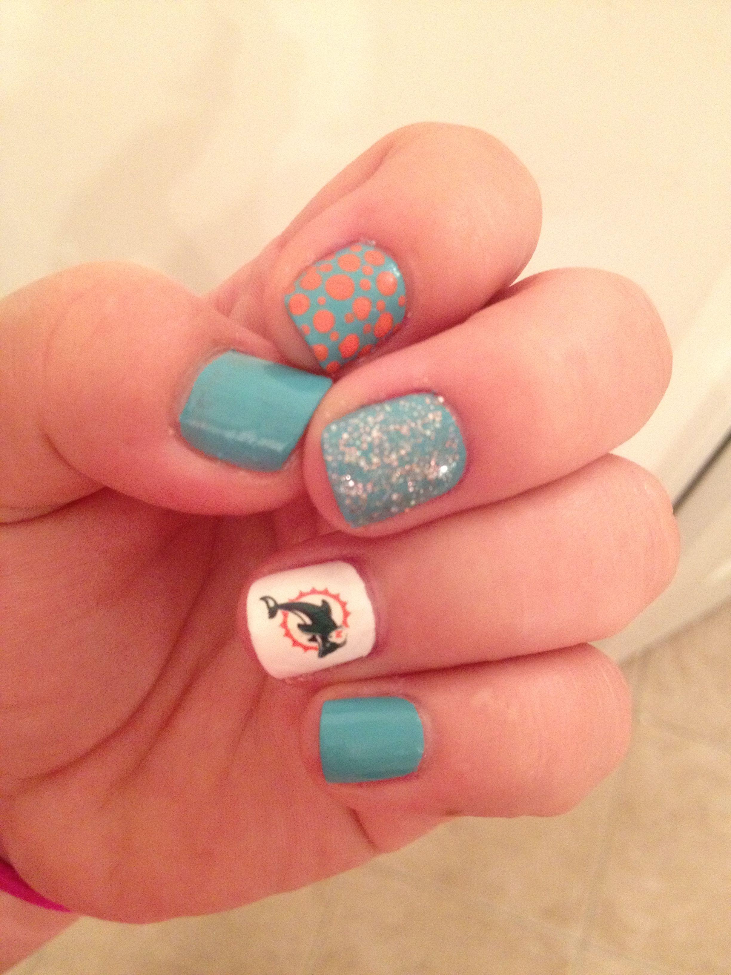 Miami Dolphin Nail Design | Miami Dolphins | Pinterest