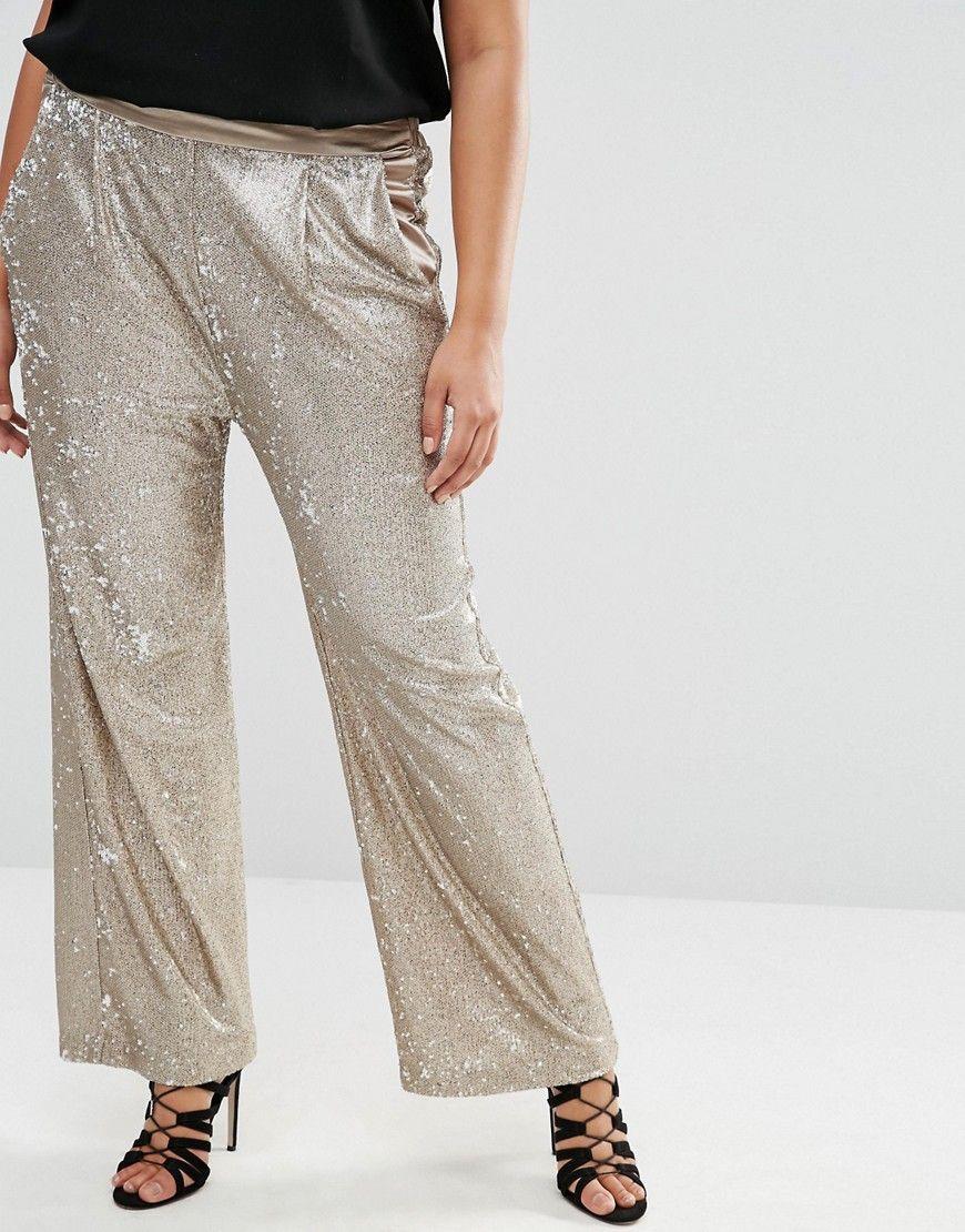 348dfb846ed Plus Size Sequin Wide Leg Pants