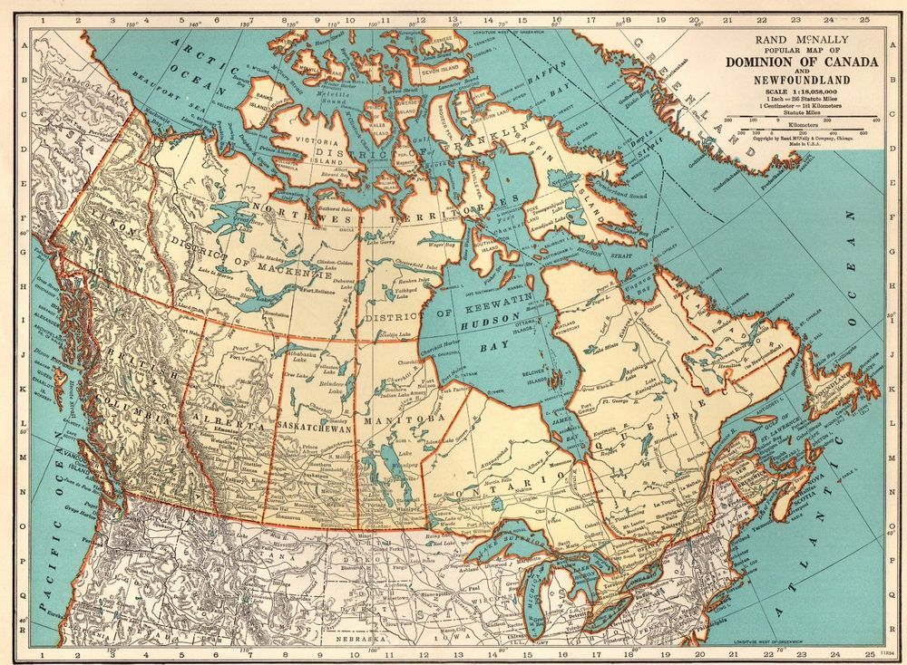Antique Canada Map 1940 Vintage MAP of CANADA Beautiful Antique 1930's Canada Map