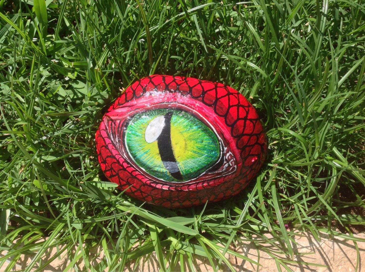 Dragon S Eye Hand Painted Garden River Rock 5 5 Quot X 4